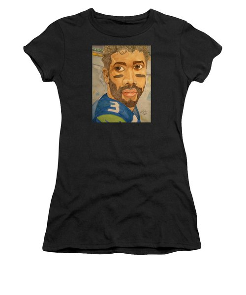 Women's T-Shirt (Junior Cut) featuring the painting New School Football Seattle by Rand Swift