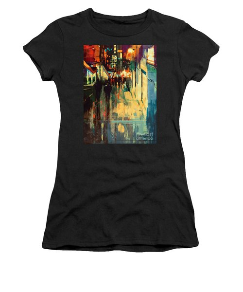 Women's T-Shirt featuring the painting Night Alleyway by Tithi Luadthong