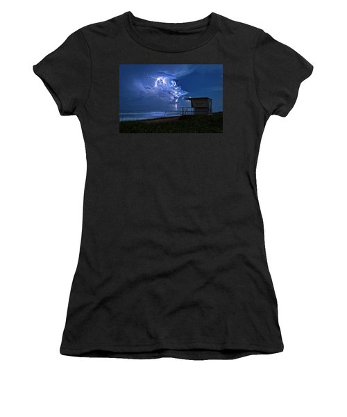 Night Lightning Under Full Moon Over Hobe Sound Beach, Florida Women's T-Shirt (Junior Cut) by Justin Kelefas