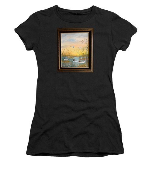 Women's T-Shirt (Junior Cut) featuring the painting Northen Pintails by Al  Johannessen