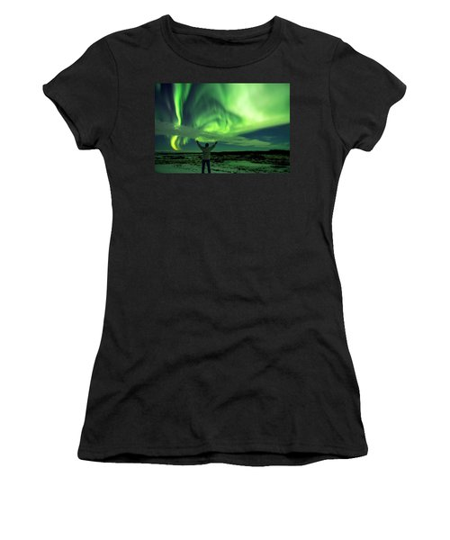 Northern Light In Western Iceland Women's T-Shirt (Athletic Fit)