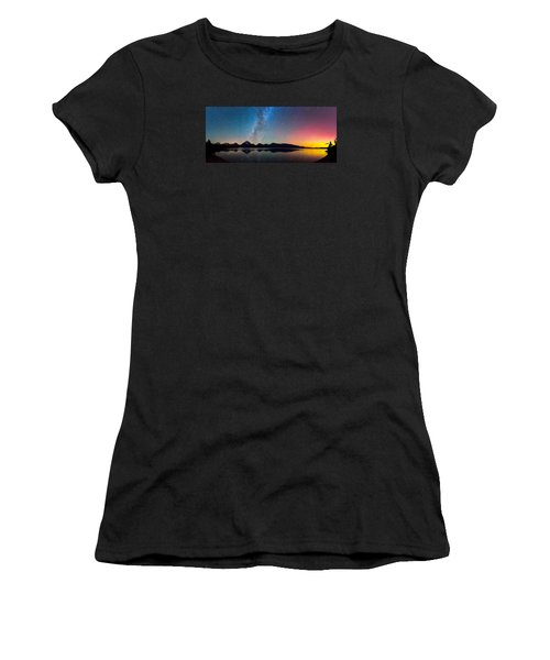 Northern Lights Over Jackson Lake Women's T-Shirt (Athletic Fit)