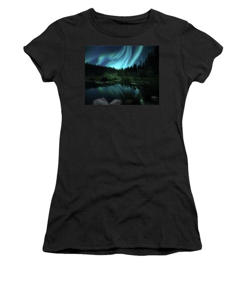 Northern Lights Over Lily Pond Women's T-Shirt (Athletic Fit)