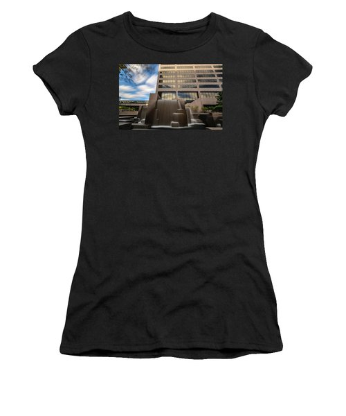 Women's T-Shirt (Athletic Fit) featuring the photograph Northwestern Mutual Waterfall by Randy Scherkenbach