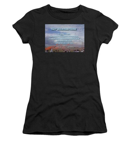Women's T-Shirt featuring the digital art Not Welcome Here by Peter Hutchinson