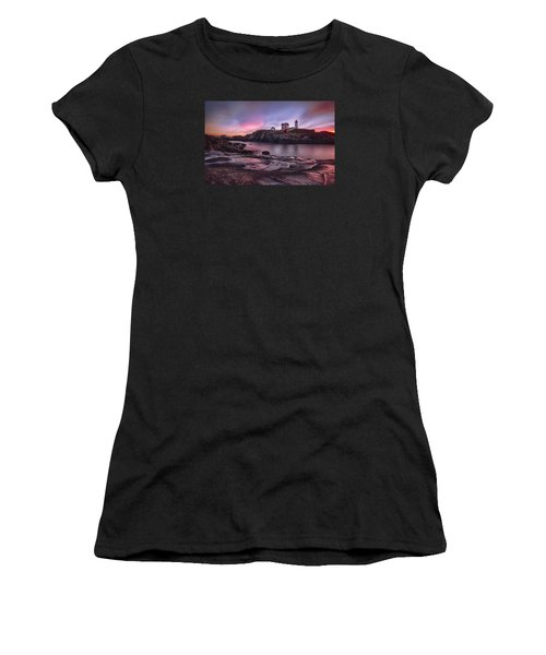 Nubble Lighthouse At Sunrise York Me Women's T-Shirt