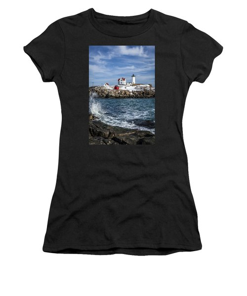 Nubble Lighthouse Winter Women's T-Shirt (Athletic Fit)