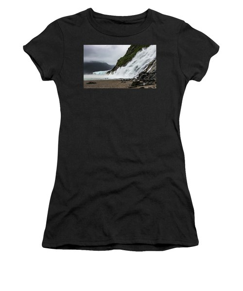 Women's T-Shirt (Athletic Fit) featuring the photograph Nugget Falls And The Mendenhall by Ed Clark