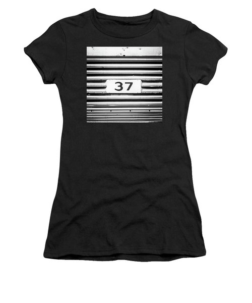 Number 37 Metal Square Women's T-Shirt (Junior Cut) by Terry DeLuco