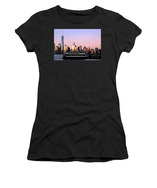 Nyc Skyline With Boat At Pier Women's T-Shirt (Athletic Fit)