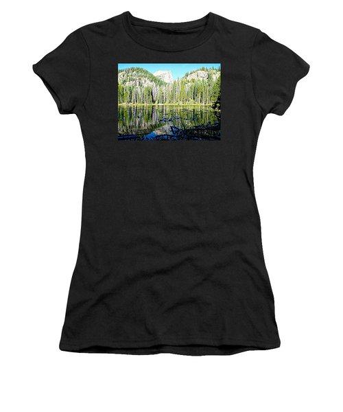 Nymph Lake And Flattop Mountain Women's T-Shirt (Junior Cut) by Joseph Hendrix