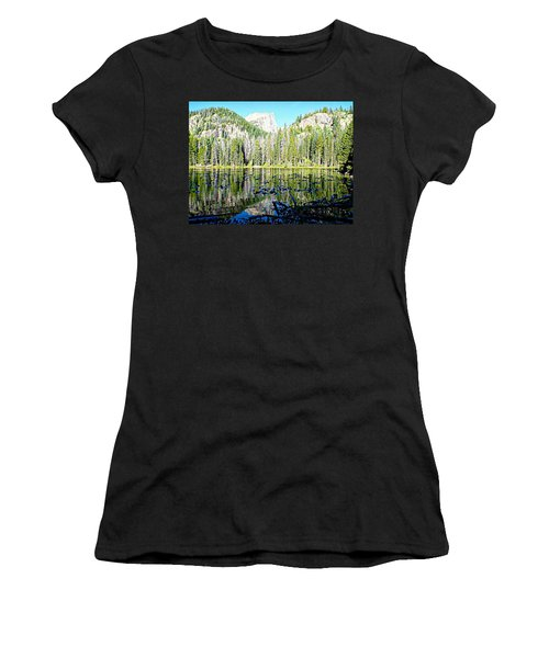 Nymph Lake And Flattop Mountain Women's T-Shirt (Athletic Fit)