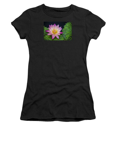 Nymphaea Hot Pink Water Lily Women's T-Shirt (Junior Cut) by Deborah Smolinske