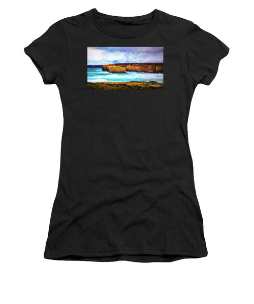 Women's T-Shirt (Junior Cut) featuring the photograph Ocean Cliffs by Perry Webster
