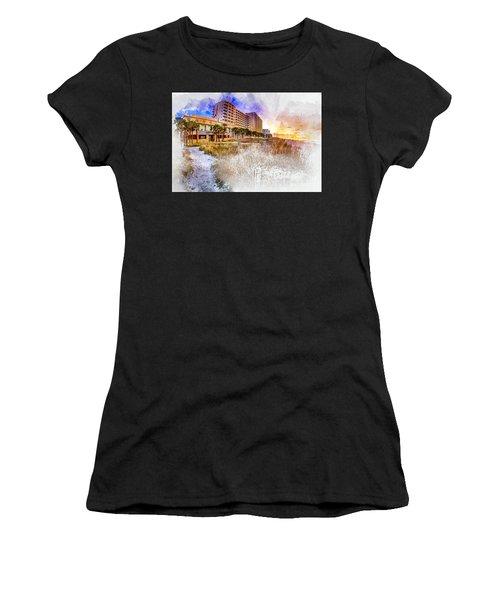 Ocean Drive Sunrise Watercolor Women's T-Shirt