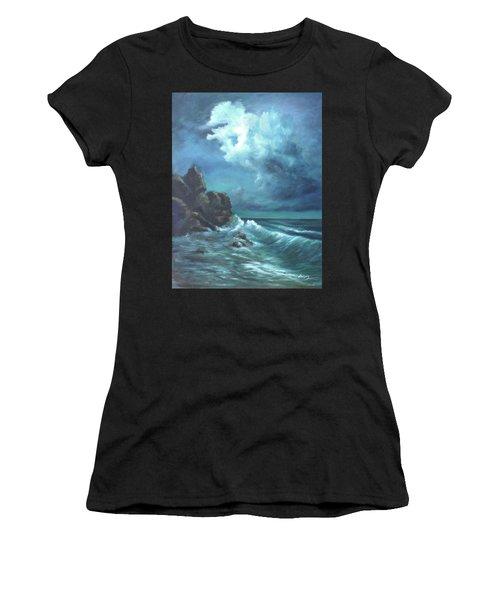 Seascape And Moonlight An Ocean Scene Women's T-Shirt