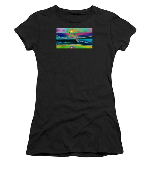 Ocean Sunset Abstract Women's T-Shirt (Athletic Fit)