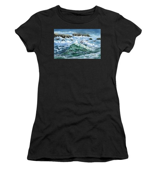 Ocean Waves And Pelicans Women's T-Shirt (Athletic Fit)