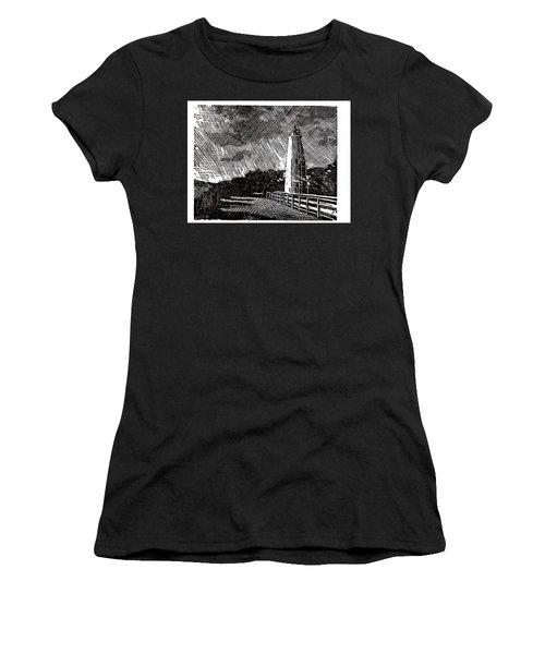 Women's T-Shirt (Junior Cut) featuring the painting Ocracoke Island Lighthouse II by Ryan Fox