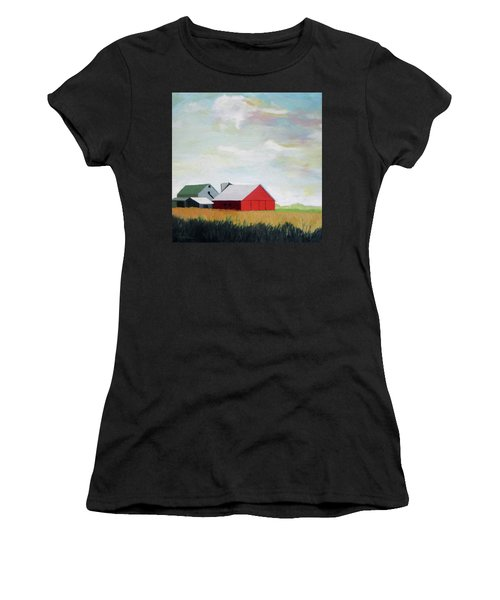 Ohio Farmland- Red Barn Women's T-Shirt (Athletic Fit)
