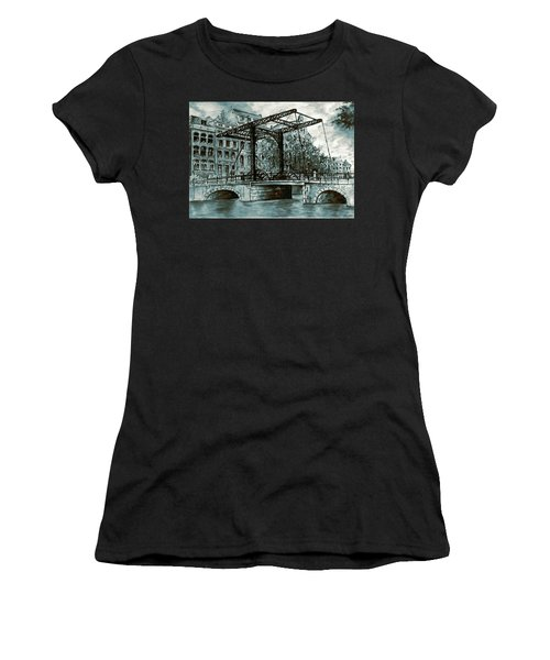 Old Amsterdam Bridge In Dutch Blue Water Colors Women's T-Shirt