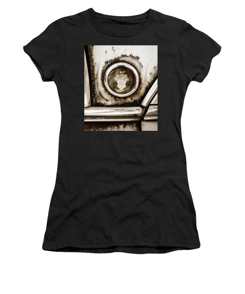Women's T-Shirt (Junior Cut) featuring the photograph Old And Worn Packard Emblem by Marilyn Hunt