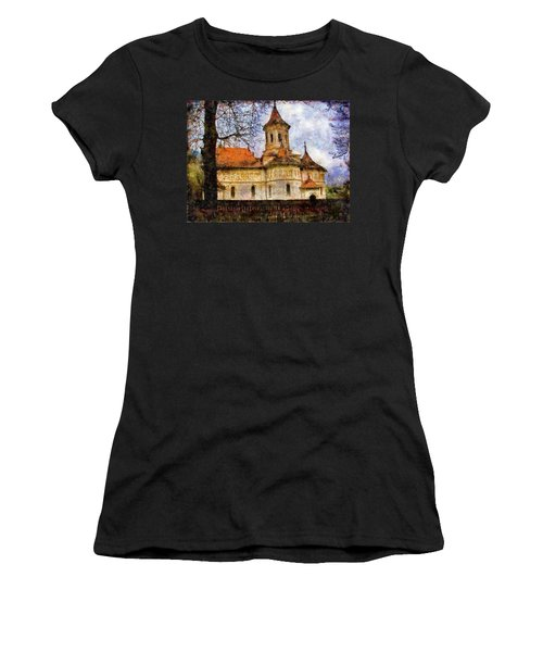 Old Church With Red Roof Women's T-Shirt (Athletic Fit)