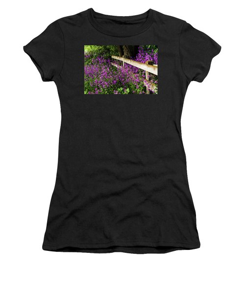 Old Fence And Purple Flowers Women's T-Shirt (Athletic Fit)