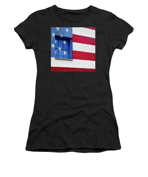 Women's T-Shirt (Athletic Fit) featuring the photograph Old Glory, American Flag Mural, Street Art by Robert Bellomy