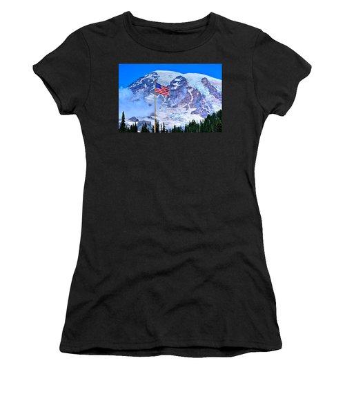 Old Glory At Mt. Rainier Women's T-Shirt