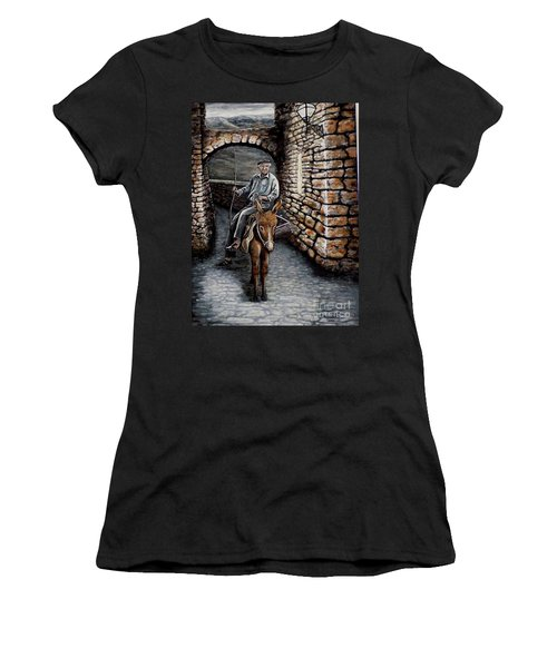Old Man On A Donkey Women's T-Shirt (Junior Cut) by Judy Kirouac
