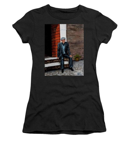Women's T-Shirt (Junior Cut) featuring the painting Old Man Waiting by Judy Kirouac