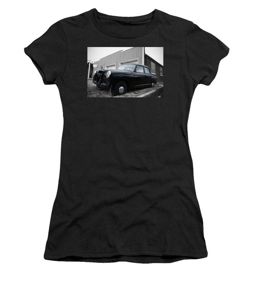 Old Mercedes Sitting At The Shop - Color On Black And White Women's T-Shirt (Athletic Fit)