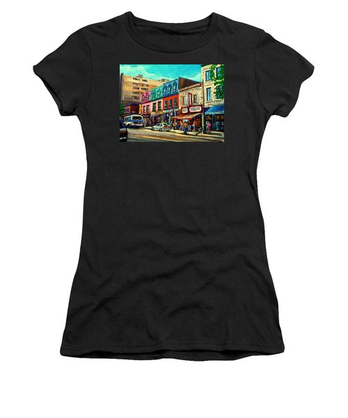 Old Montreal Schwartzs Deli Plateau Montreal City Scenes Women's T-Shirt (Athletic Fit)