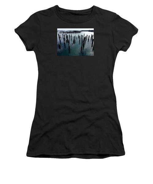 Old Pilings, Casco Bay Portland Trails Women's T-Shirt (Junior Cut) by Patricia E Sundik