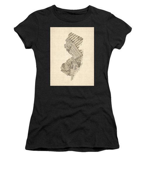 Old Sheet Music Map Of New Jersey Women's T-Shirt