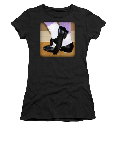 Old Tap Dance Shoes With White Socks And Wooden Floor Women's T-Shirt (Junior Cut) by Pedro Cardona