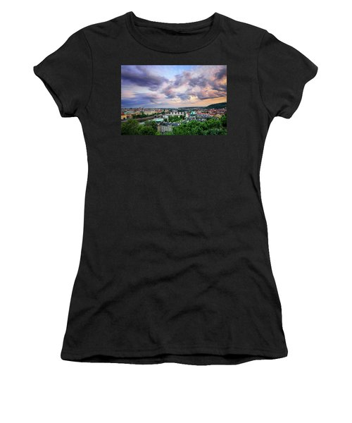 Old Town And Charles Bridge, Prague, Czech Republic Women's T-Shirt (Athletic Fit)