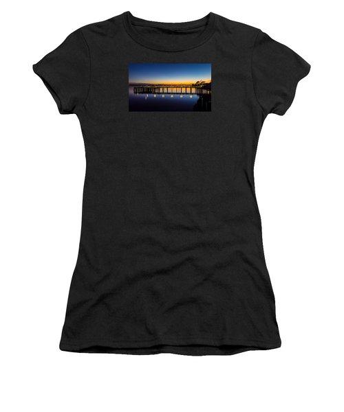Old Town Pier Blue Hour Sunrise Women's T-Shirt (Athletic Fit)