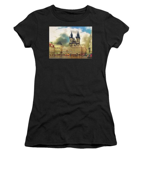 Old Town Square Prague In The Rain Women's T-Shirt