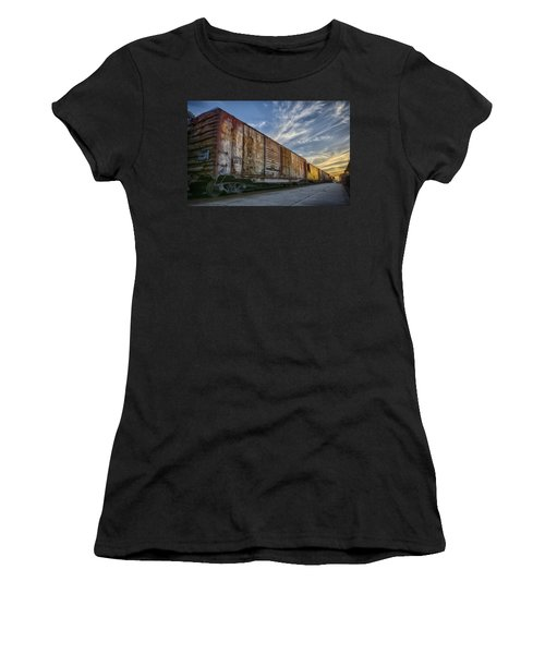 Women's T-Shirt (Junior Cut) featuring the tapestry - textile Old Train - Galveston, Tx by Kathy Adams Clark