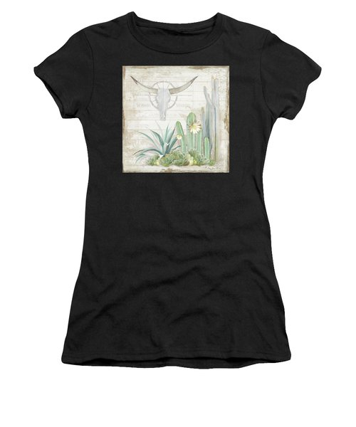 Old West Cactus Garden W Longhorn Cow Skull N Succulents Over Wood Women's T-Shirt