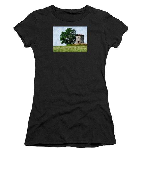 Women's T-Shirt (Junior Cut) featuring the photograph Old Windmill by Jean Bernard Roussilhe
