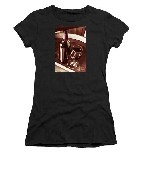 Old Wine Bottle And Glass In Rustic Wine Cellar Women's T-Shirt
