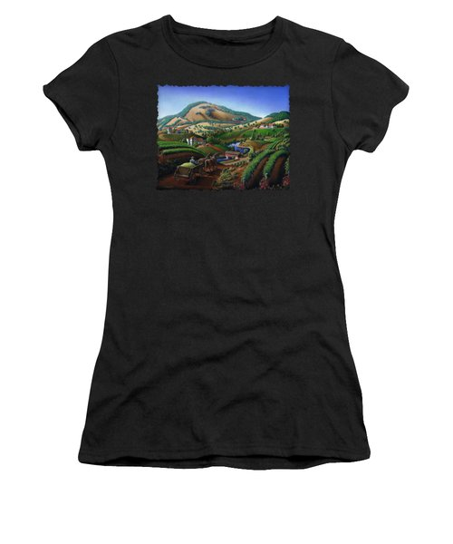 Old Wine Country Landscape - Delivering Grapes To Winery - Vintage Americana Women's T-Shirt