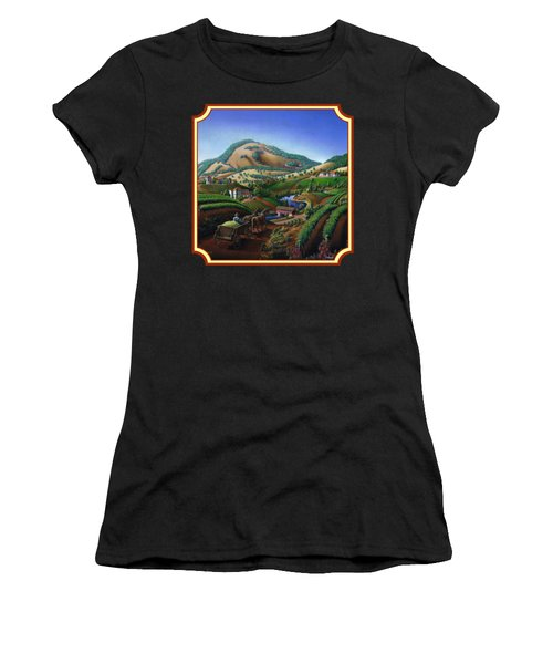 Old Wine Country Landscape Painting - Worker Delivering Grape To The Winery -square Format Image Women's T-Shirt