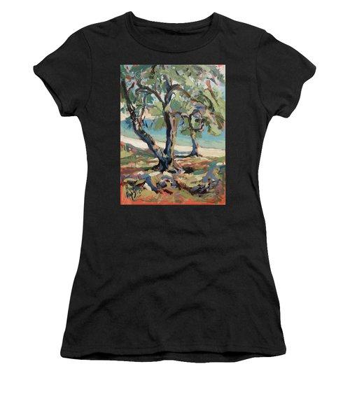 Olive Trees Along Marmari Beach Paxos Women's T-Shirt (Athletic Fit)