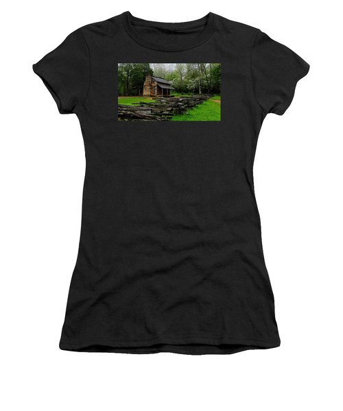 Oliver's Cabin Among The Dogwood Of The Great Smoky Mountains National Park Women's T-Shirt