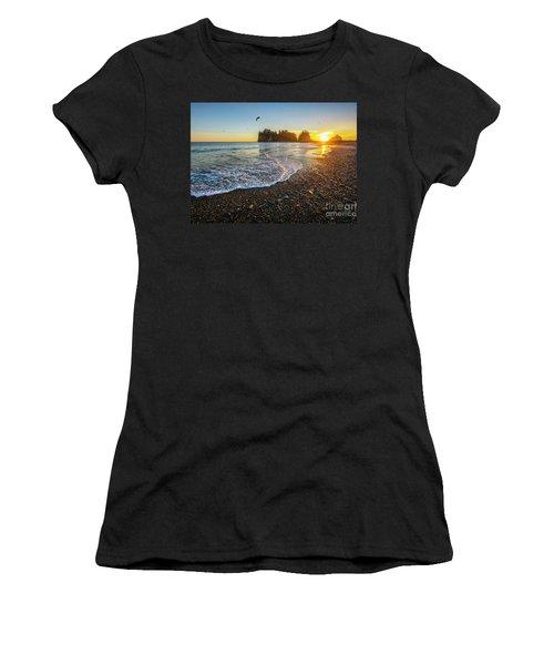 Women's T-Shirt (Junior Cut) featuring the photograph Olympic Peninsula Sunset by Martin Konopacki