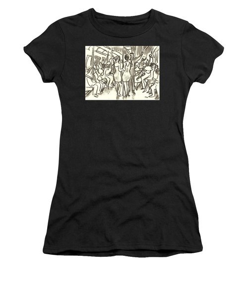 On The A, New York City Subway Drawing Women's T-Shirt (Athletic Fit)